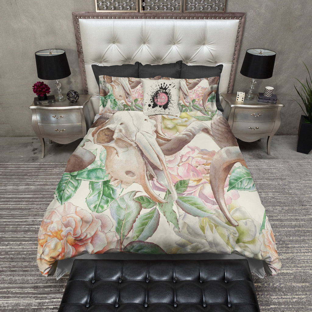 Rams Head Skull Bedding CREAM