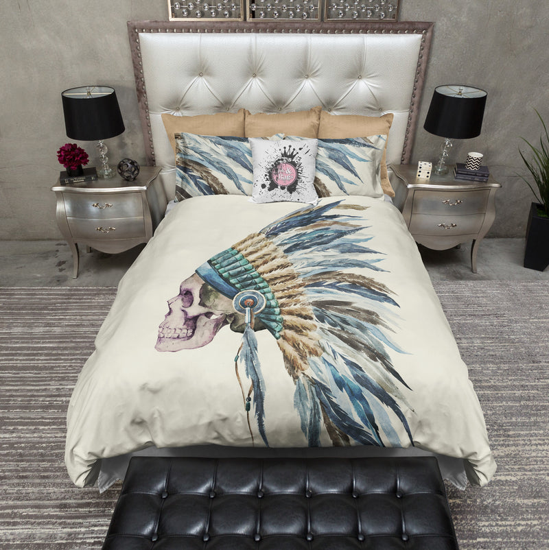 Blue Feather Native American Indian Headdress Skull Bedding CREAM