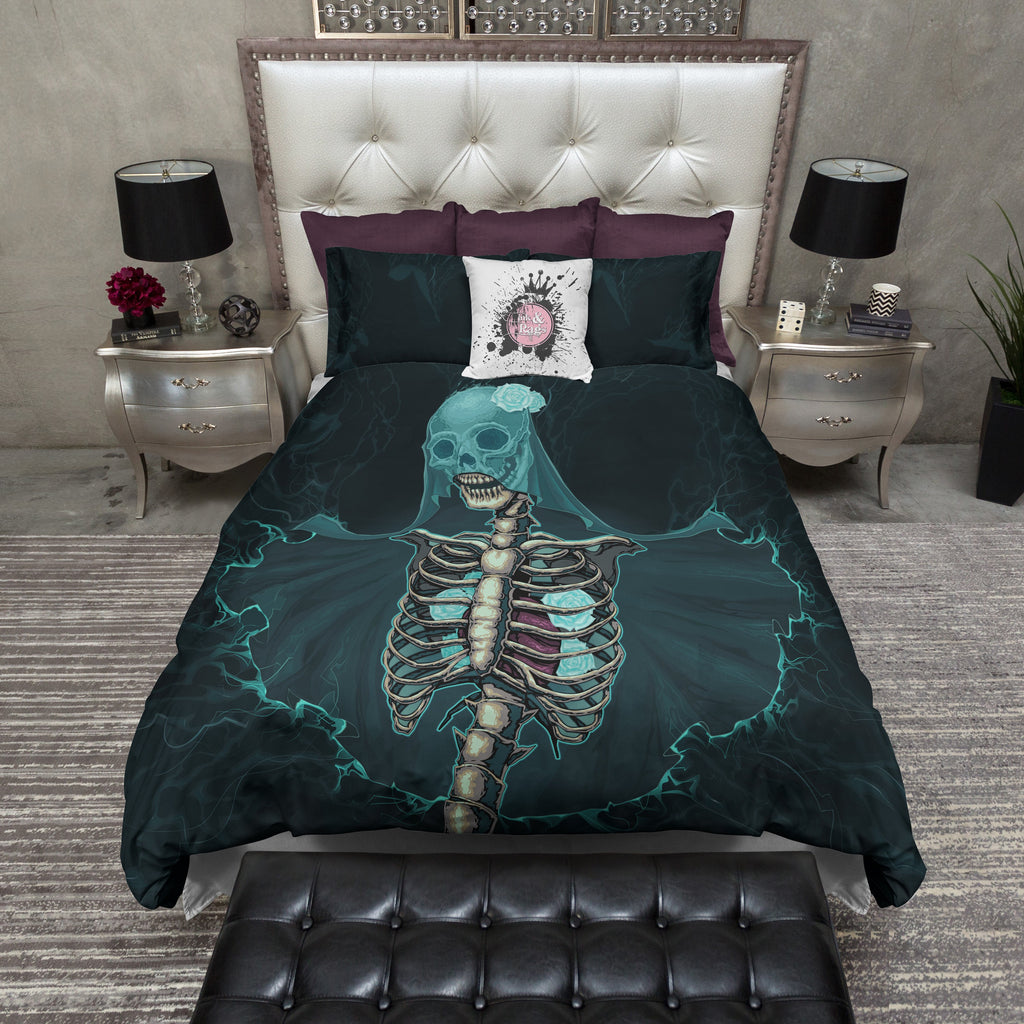 The Teal Bride Skull Bedding Collection