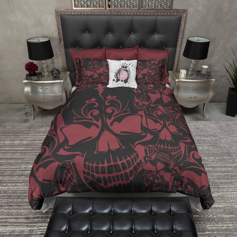 Red and Black Collage Skull Bedding