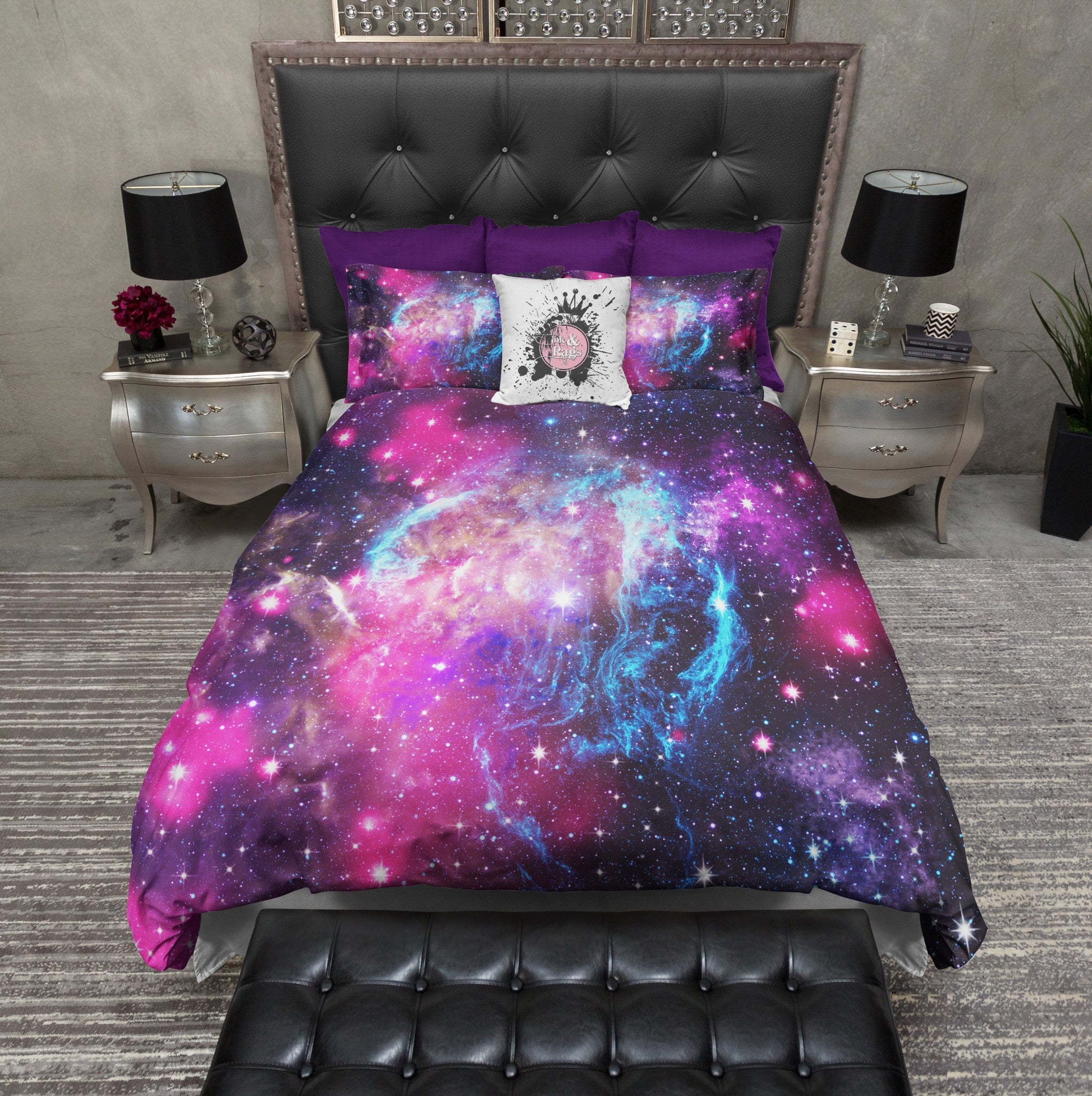 Pink And Blue Nebula Galaxy Bedding Ink And Rags