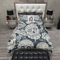 Navy and Cream Sugar Skull Bedding CREAM