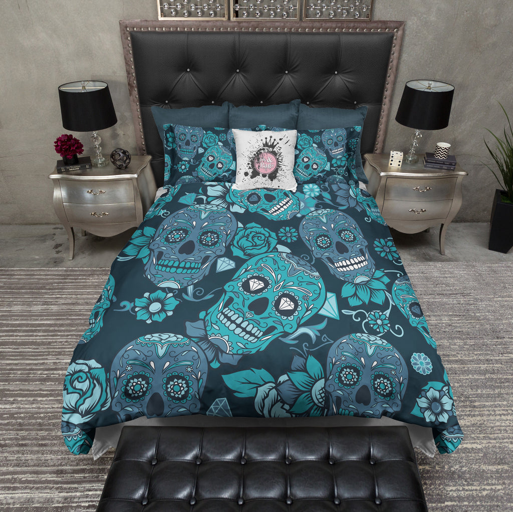 Teal and Blue Sugar Skull Bedding Collection