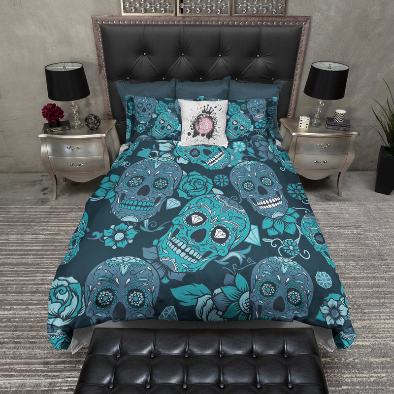 Teal and Blue Sugar Skull Bedding