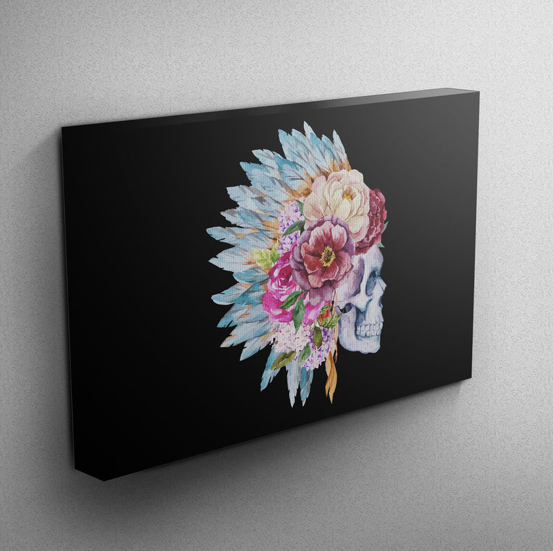 Flower and Native American Indian Headdress Skull Gallery Wrapped Canvas