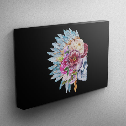 Flower and Indian Headdress Skull Gallery Wrapped Canvas