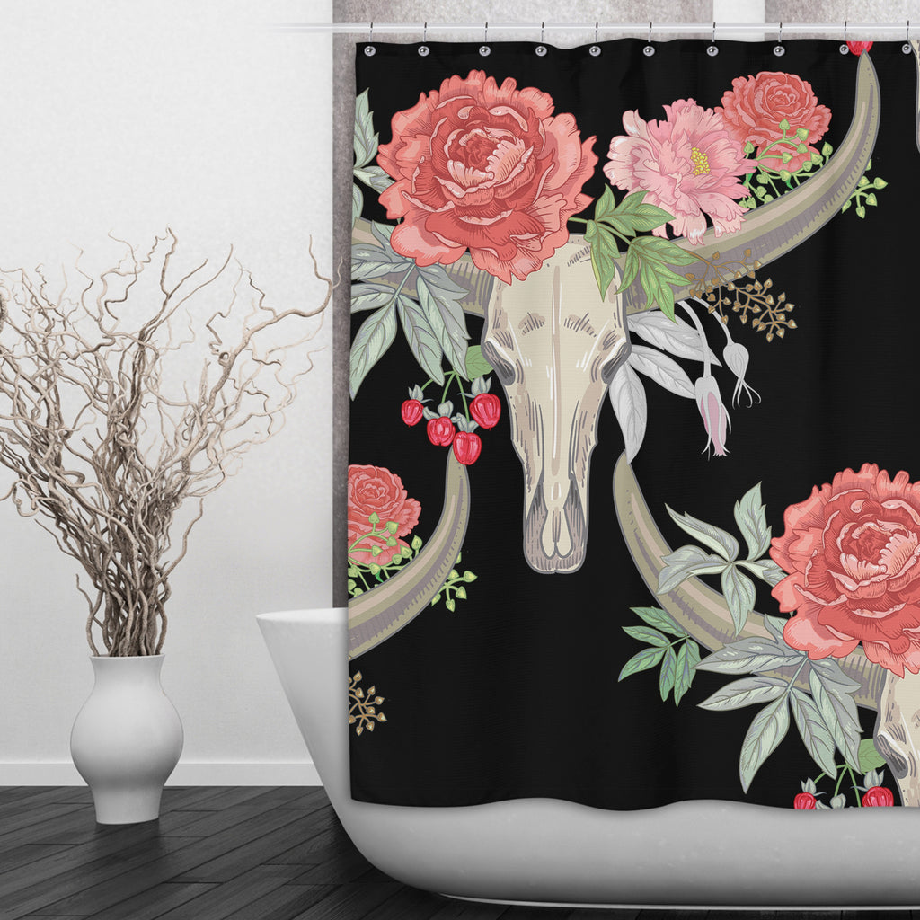 Flower and Texas Longhorn Skull Shower Curtains and Optional Bath Mats