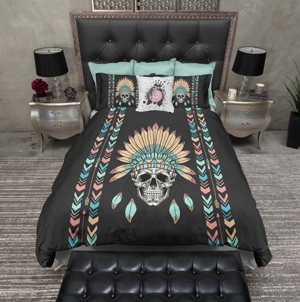 Native American Indian Headdress Chevron Skull Duvet