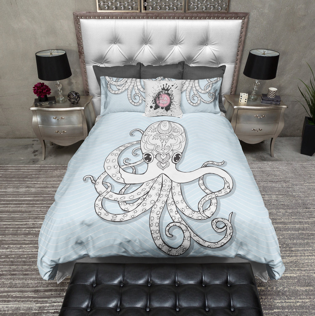 Powder Blue Wave and Henna Octopus Duvet Bedding Sets