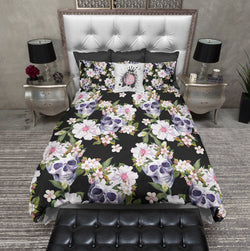 Black Mini Blossoms and Skulls Bedding