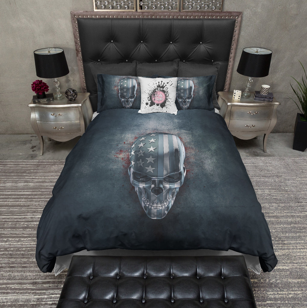 Faux Denim Stars and Stripes Skull Bedding