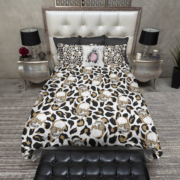 Leopard Print Skull Duvet Bedding Sets Ink And Rags