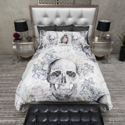 Silver and Blue Skull and Flower Bedding
