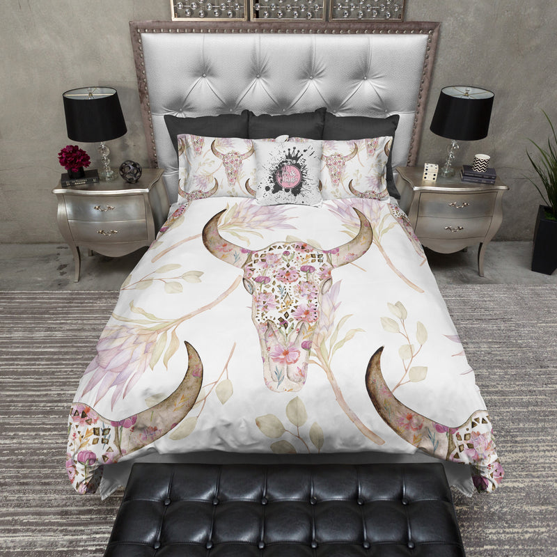 Boho Petite Flower and Bull Skull and Flower Bedding