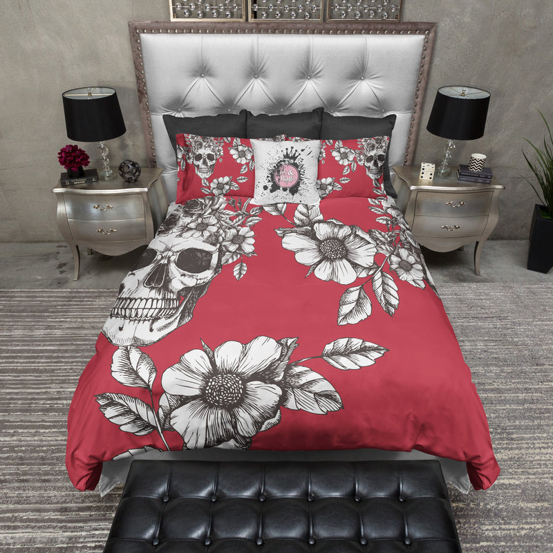 Red and Brown Skull and Flower Bedding