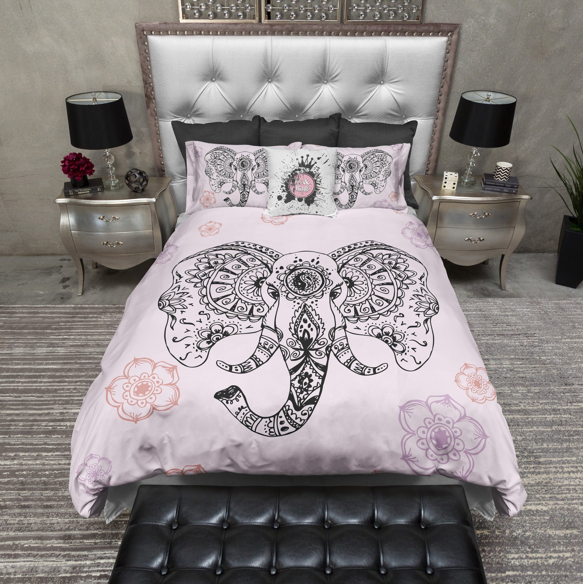 and pink screenshot henna products indian cover duvet grey style bedding elephant