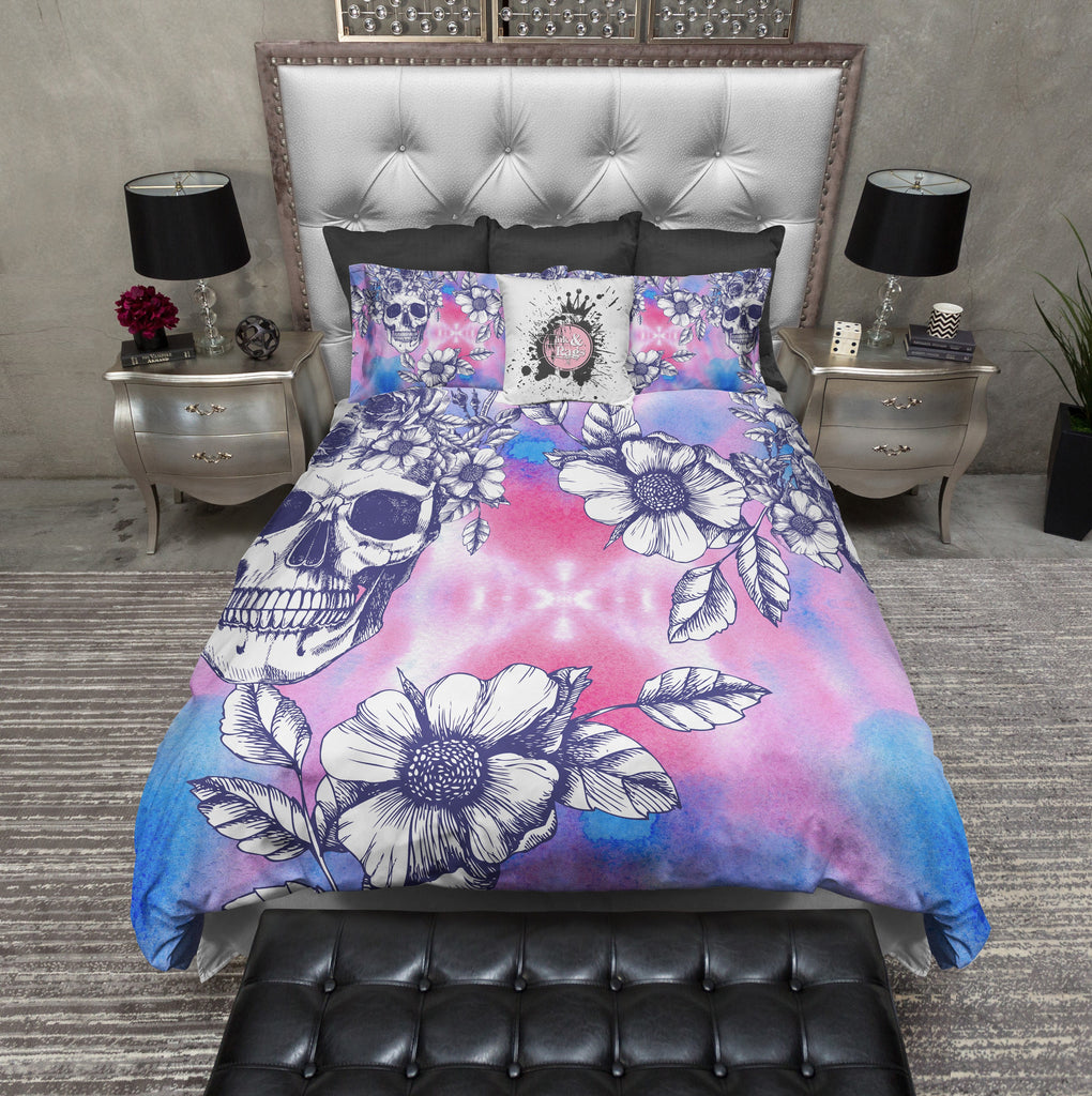 Pink and Blue Watercolor Skull and Flower Bedding Collection