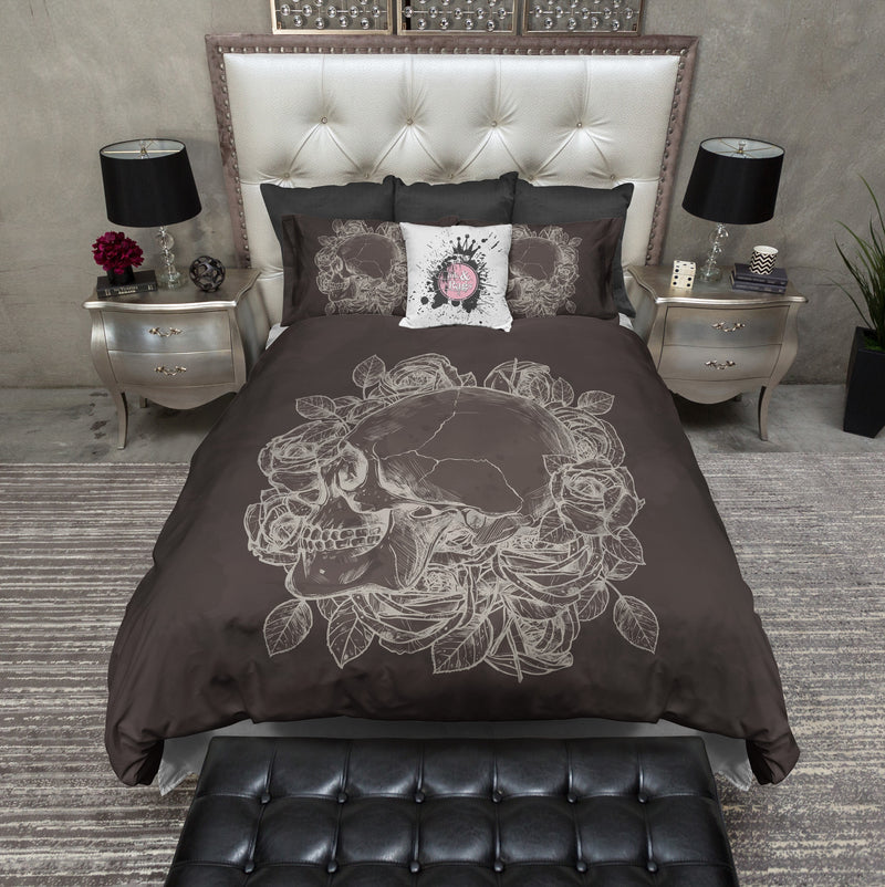 Chocolate Skull and Rose Bedding CREAM