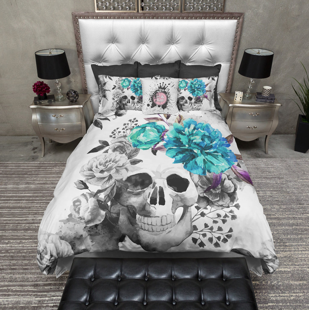Teal Flower Watercolor Skull Bedding Collection