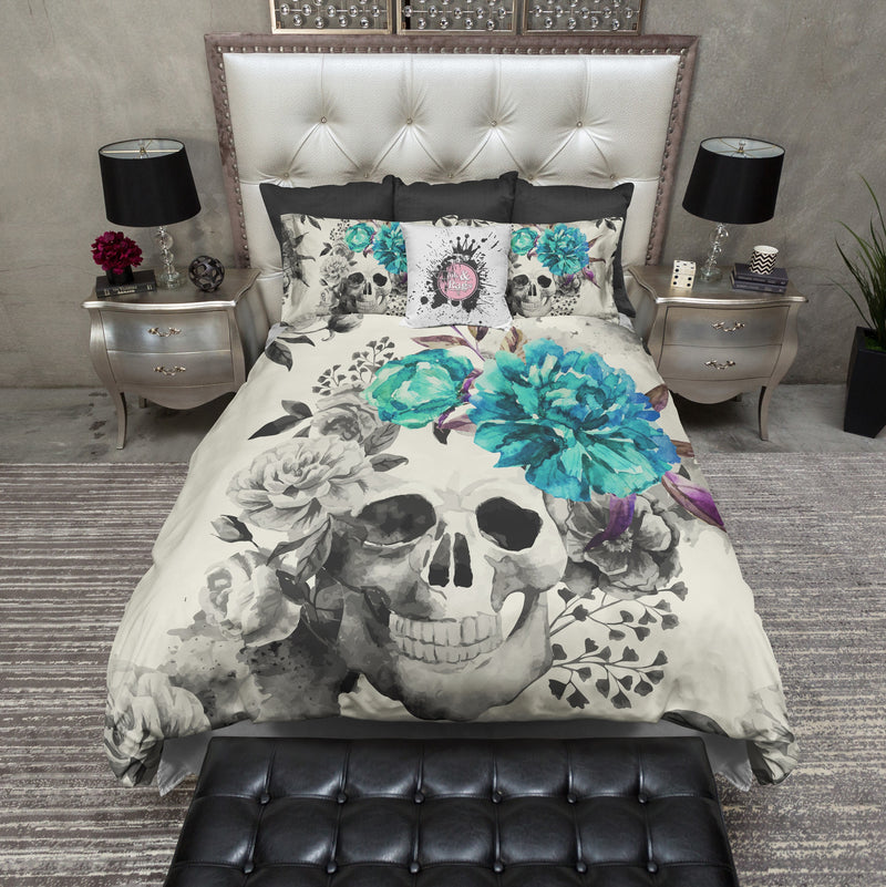 Teal Flower Watercolor Skull Bedding CREAM