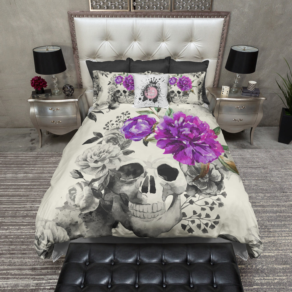 Purple Flower Watercolor Skull Bedding CREAM