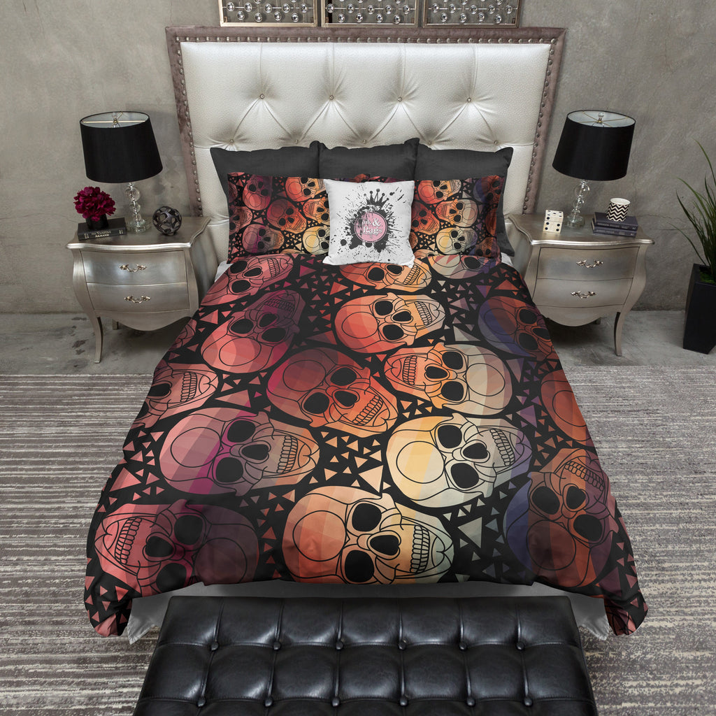 Amber Geometric Skull Bedding