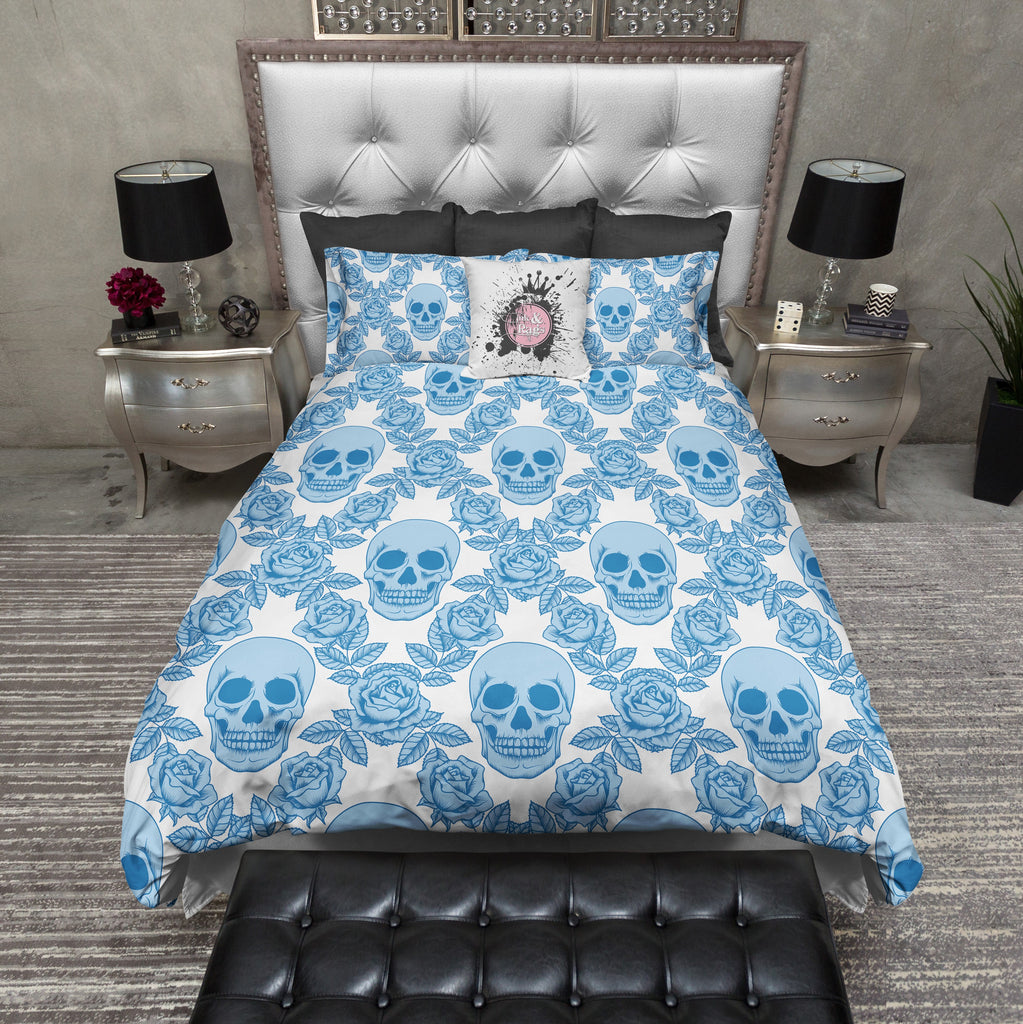 Blue Diamond Rose Skull Bedding