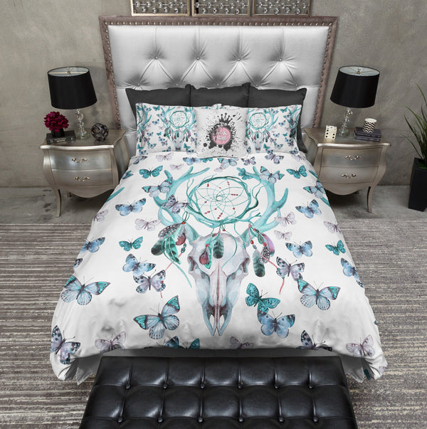 Blue Green Dreamcatcher Butterfly Buck Deer Skull Bedding