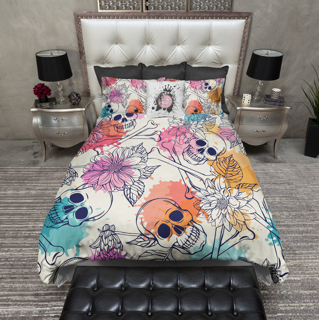 Color Splash Skull and Crossbones Duvet Bedding Sets