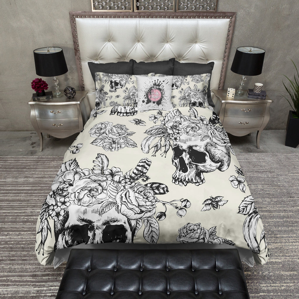 Cream and White Skull with Flower and Feather Crown Duvet Bedding Sets