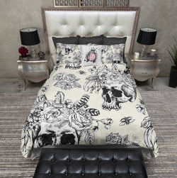 Cream and White Skull with Flower and Feather Crown Bedding