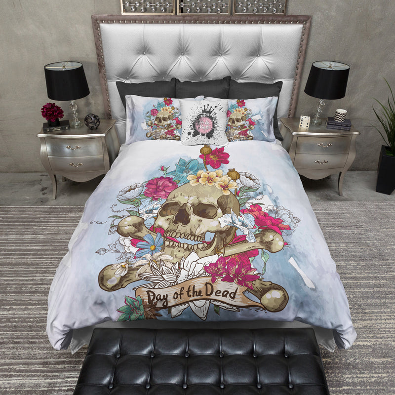 Day of the Dead Blue Watercolor Skull Bedding