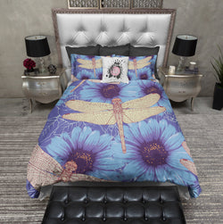 Dragonfly Blue Daisy Bedding