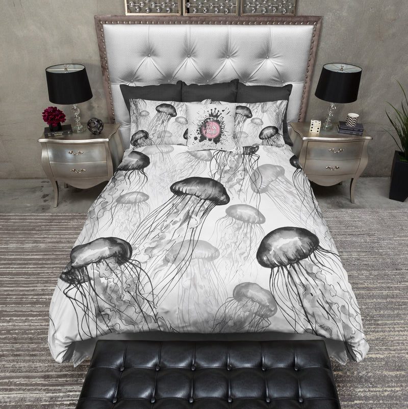 White and Black Jellyfish Bedding