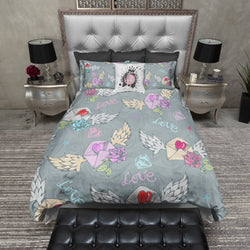 Sweet Rockabilly Love Letter Bedding CREAM