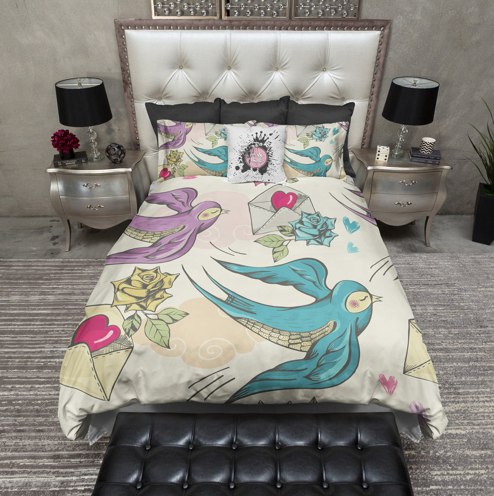 Rockabilly Robins Love Letter Bedding CREAM