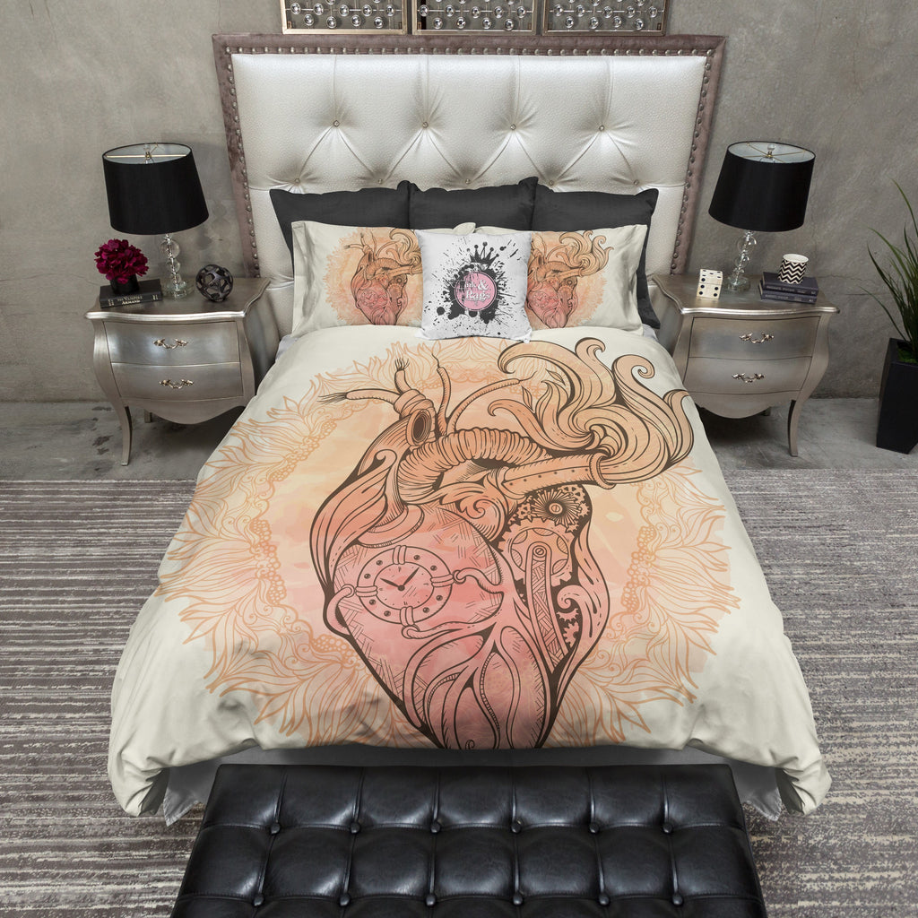 Steampunk Hear and Mandala Duvet Bedding Sets