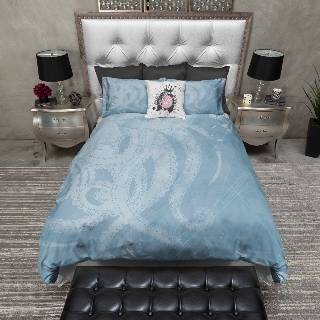 Soft Blue Sea Octopus Tentacle Duvet Bedding Sets