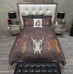 Boho Moon Feather and Buck Skull Bedding