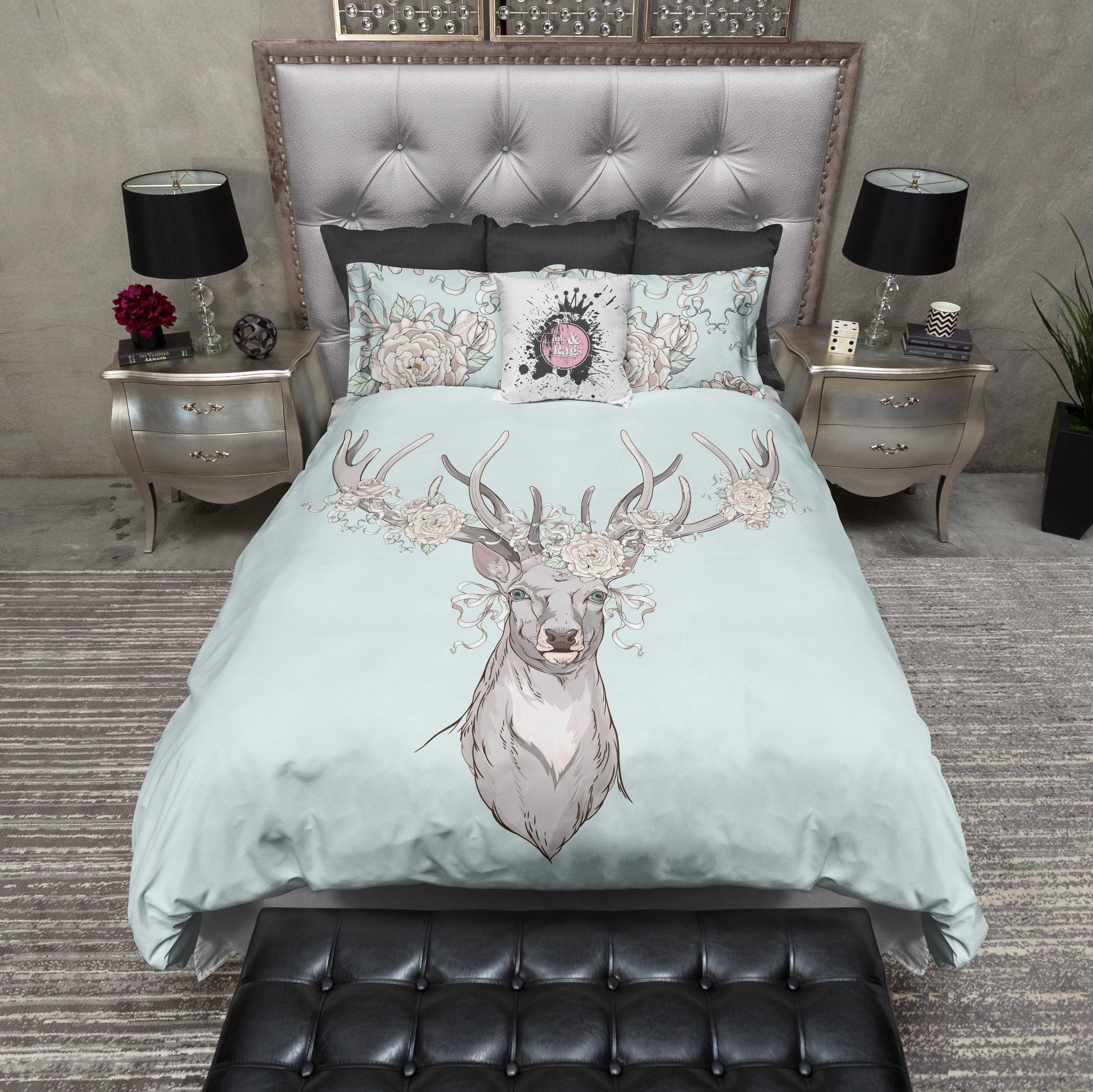 Country Chic Deer and Rose Duvet Bedding Sets Ink and Rags
