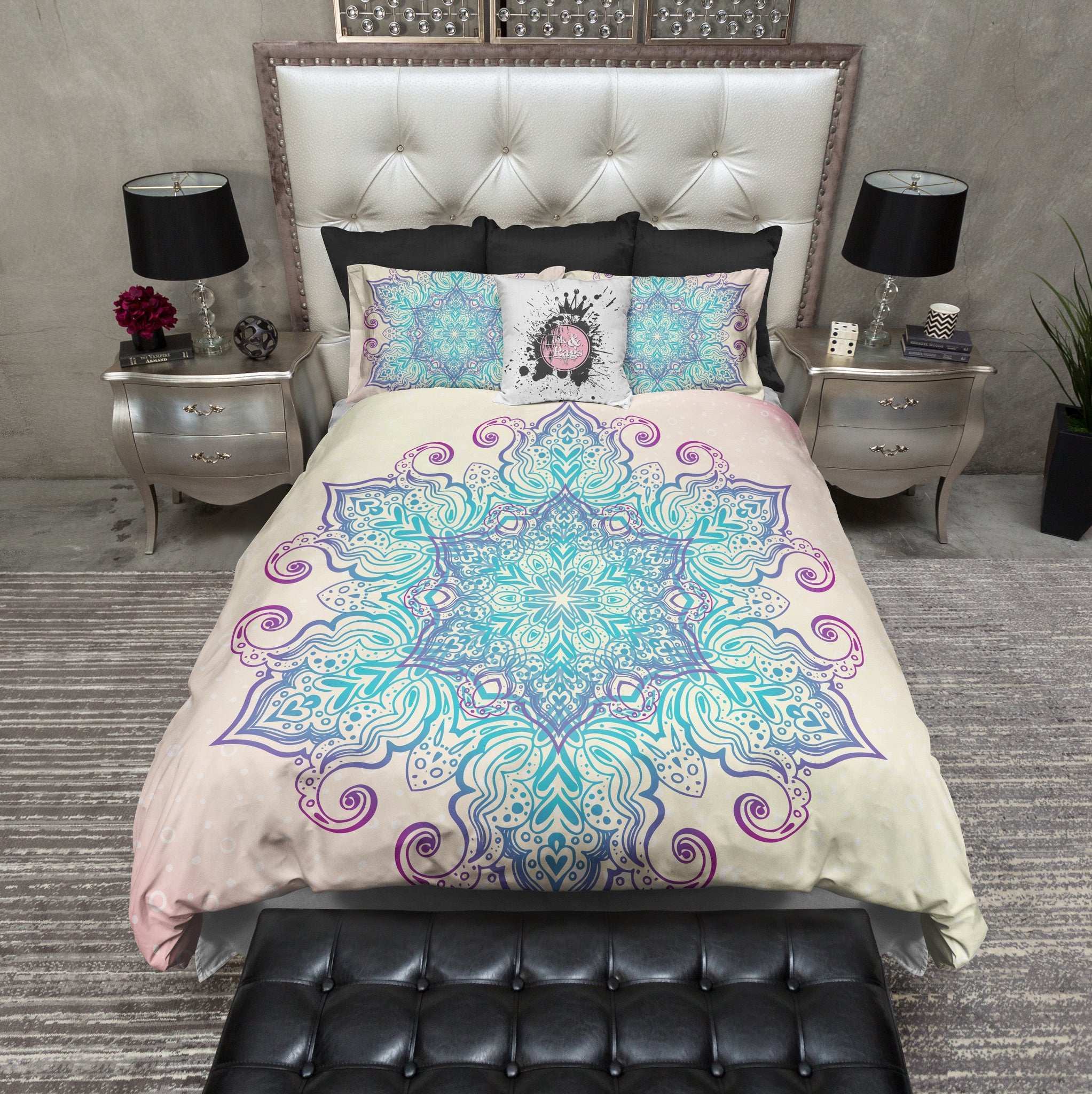 Boho Blue and Purple Mandala Bedding - Ink and Rags