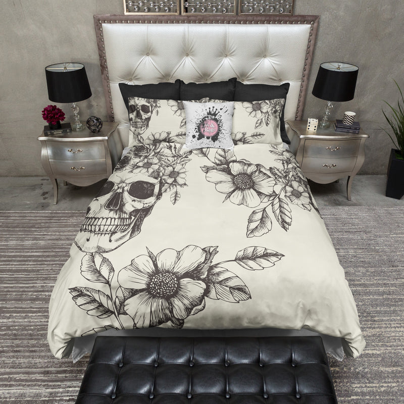 Black and Cream Peeping Skull and Dogwood Bedding