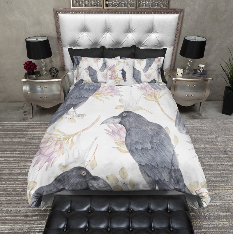 Crowned Crow and Floral Bedding