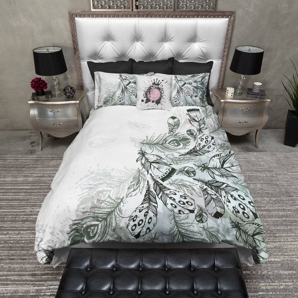 Boho Green and Grey Feather Bedding Collection