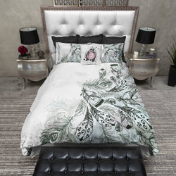 Boho Green and Grey Feather Bedding