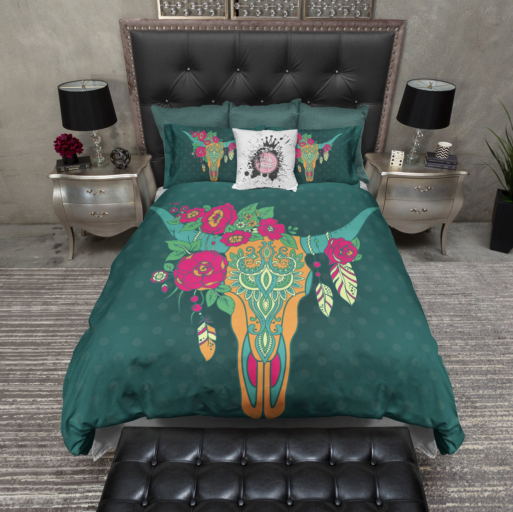 Teal Dot Longhorn Skull Bedding