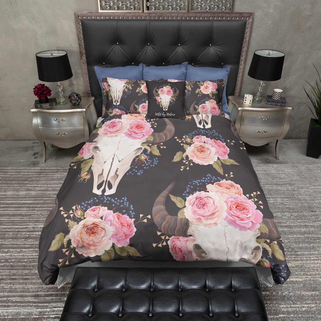 Wild and Free Pink Rose Buffalo Skull Bedding