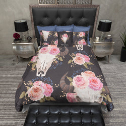 Wild and Free Pink Rose Buffalo Skull Duvet Bedding Sets
