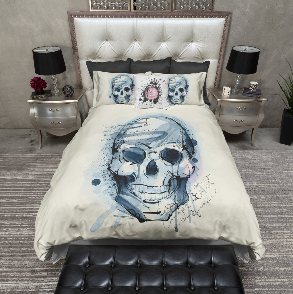 What a Fine Mess Watercolor Skull Bedding CREAM