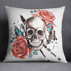 Red Roses with Turquoise Accents and Large Skull Decorative Throw Pillow Cover